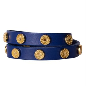 Picture of Royal Blue Leather Wrap with Gold Studs